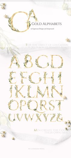 Grace&Glory Botanical Alphabet Olive by Catherine Wheel on @creativemarket