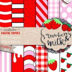 Strawberry & Milk Digital Paper Pack, Cute Scrapbooking, Diy invitations, Pink…