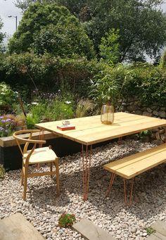 Hairpin leg, scaffold board garden table