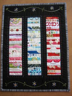 Selvage quilt  with embroidery -- love