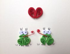 Valentines Card, Red Heart and green frogs, Quilling Art, Funny Card, Blank Card, Love Friendship Card by ElPetitTaller on Etsy