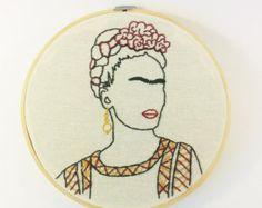 Artículos similares a Arte del bordado de Frida Kahlo en Etsy