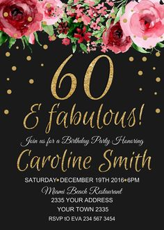 60th Birthday Invitation Watercolor Flowers Floral Chalkboard F