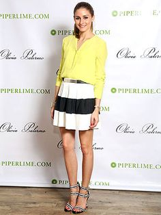 I love the striped skater skirt...paired with a bright portofolio shirt.