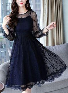 Solid Long Sleeve Midi X-line Dress Stylish Dresses, Elegant Dresses, Cute Dresses, Vintage Dresses, Beautiful Dresses, Short Dresses, Frock Fashion, Fashion Dresses, Girly Outfits