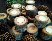 TREASURY ITEM - 100 - Natural Rustic Oak Tree Trunk Tea light Candleholders - Rustic Weddings - Home decor - Photo props  -  A MUST HAVE!!!!!!!!!