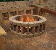 Fancy Brick Firepit with Benches