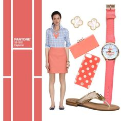 Pantone Summe 14 -Cayenne by talk56 on Polyvore featuring Brooks Brothers, Jack Rogers, Ted Baker, ALDO, Kate Spade, Van Cleef & Arpels, Pantone, coral, preppy and classy
