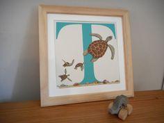 T for Turtle Nursery Alphabet Art Unframed by huxleyjonesdesigns