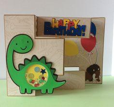 Dinosaur Birthday, Tri-Fold, Shaker Card by Overthetopcards on Etsy
