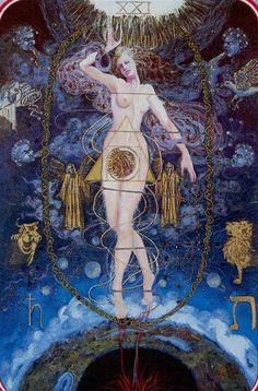 The World: Spiral Tarot - Stunning artwork The World Tarot Card, Tarot Major Arcana, Tarot Readers, Oracle Cards, Tarot Decks, Archetypes, Magick, Illustration, Artwork