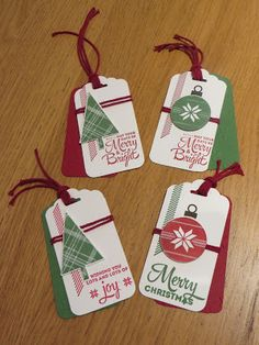 Homemade christmas gift tags day 2 scrapbook paper ornaments craftycarolinecreates christmas in august gift tag set using lots of joy by stampin diy solutioingenieria