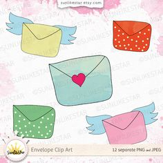 Digital Envelope Clipart: Cute Mail Clipart, Digital Clipart Download, mail clip art, envelope clip art, sticker clipart | transparent PNG by SunlikeStar on Etsy #clipart #digital #graphics