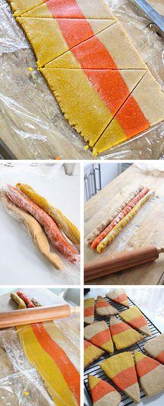 Candy Corn Cookies Tutorial #diy  http://thecakebar.tumblr.com/post/34389350496/candy-corn-halloween-cookies-tutorial-recipe