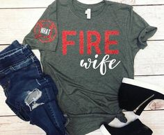 for girlfriend clothes Firefighter Wife Shirt/Firefighter Wife/Firefighter Wife Gift/Gifts For Her/Fire Wife/Firefighter Girlfriend/Firefighter Mom/Firefighter Firefighter Family, Firefighter Decor, Firefighter Shirts, Firefighters Wife, Firefighter Wedding, Tee T Shirt, Diy Shirt, Diys, Shirt Designs