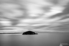 Deception Island, Rosario Head, Deception Pass State Park, Washington, 2015   Click the picture above for information on purchasing a fine art photography wall print.   #blackandwhite #landscape #seascape