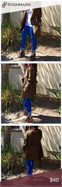 Olive green wrap jacket Chic Olive green wrap jacket with side pockets PLEASE Use the Poshmark new option you can purchase and it will give you the option to pick the size you want ( all sizes are available) BUNDLE and save 10% ( no trades price is firm unless bundled) Jackets & Coats