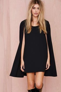 Nasty Gal Catherine Cape Dress - Going Out | Shift | Solid | LBD | Dresses | Dresses