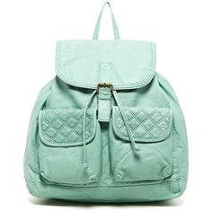 T-Shirt & Jeans Quilted Back Backpack ($30) ❤ liked on Polyvore featuring bags, backpacks, aqua, green tea bags, backpack, quilted backpack, daypacks and handle backpack