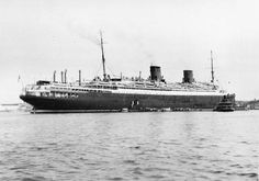 The Hamburg American liner Columbus after she received exterior changes and new engines to closer resemble her bigger sisters Bremen and Europa.