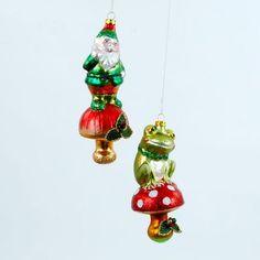 Frog & Gnome on Mushroom Ornaments – BRIARWOOD