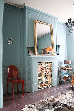 Fireplace/Bookcase   by jamie meares, via Flickr
