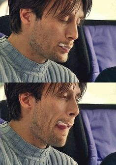 Licking Mads Mikkelsen... I mean Mads Mikkelsen's licking ice cream from his lips... Okay... Gosh...