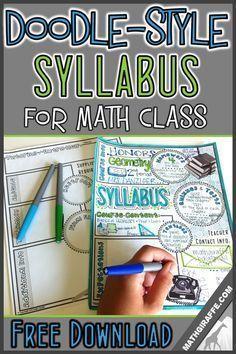 Syllabus for Math Class (Doodle - Style!): Free Printable (Math Giraffe - The… Math Teacher, Teaching Math, Math Math, Math Games, Teacher Stuff, Math Fractions, Teaching Ideas, Teaching Methodology, Math Activities