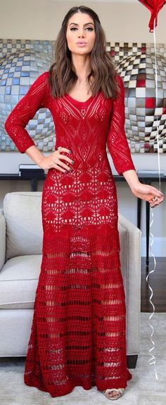 Gina Tricot Red Crochet Maxi Dress | Super Vaidosa #gina