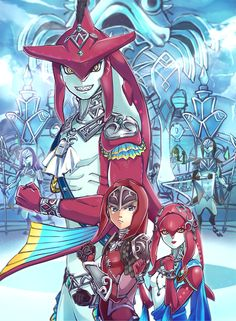 The Legend of Zelda (Breath of the Wild) - Sidon, Link, Mipha The Legend Of Zelda, Legend Of Zelda Memes, Legend Of Zelda Breath, Breath Of The Wild, Amaterasu, Twilight Princess, Mipha And Link, Sidon Zelda, Prince Sidon