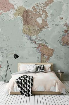 Muted colours of the map  strong black & white accents