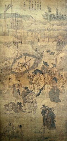 (Korea) 파안흥취 1778 Folder Screens by Kim Hong do color on paper. National Museum of Korea. Korean Painting, Chinese Painting, Korean Traditional, Traditional Art, Chinese Drawings, Mediums Of Art, T Art, Korean Art, China Art