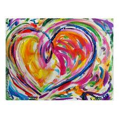 Heart of Joy Postcard Heart Painting, Finger Painting, Diy Canvas Art, Canvas Art Prints, Painting Canvas, Joy Art, Rainbow Art, Rainbow Colors, Drawing Tutorials