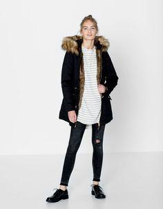 Pull&Bear - femme - manteaux et parkas - parka coton capuche fourrure - noir…
