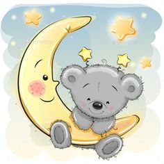 Cute Cartoon Teddy Bear on the moon