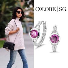 """Add """"Pink Sapphire Essentials Collection"""" hoop earrings to a cozy, over sized sweater for a polished look <3"""