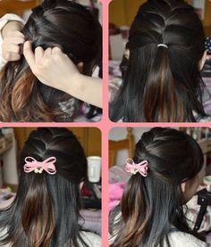 Tighten braid at the middle of head and insert a bow tie to be more charming