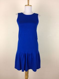 Red Valentino Dress Blue Drop Waist Sleeveless Size XS S #RedValentino #FlapperDropWaist #Casual