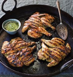 Here's a creative way to use zesty chimichurri sauce in an impressive an unexpected presentation. Cornish hens are flattened and cooked under the pressure of a heavy brick, saving cooking time and ...