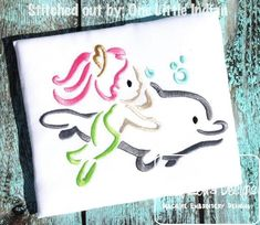 Mermaid with Dolphin Satin Stitch Outline Embroidery Design: Jazzy Zebra Designs