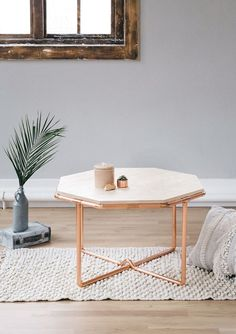 Copper & Ash Wood Octagon Statement Coffee Table - The Little Deer Co - Home Furniture - Living Room Furniture Copper Furniture, Pipe Furniture, Living Room Furniture, Living Room Decor, Furniture Design, Furniture Redo, Furniture Ideas, Copper Diy, Copper Table