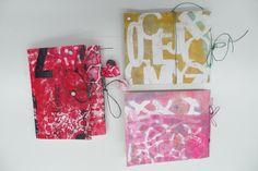 Resultaat van een cursist workshop Gelliplate en 3x cahier binding in Atelier Velijn.