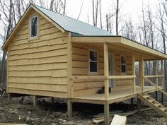The plan to make a cabin house is perfect as a place to rest while doing the hunt in the open. You can adjust or adjust the existing cabin plan and incorporate your own ideas. The hunting cabin pla… Tiny Cabins, Tiny House Cabin, Cabins And Cottages, Cabin Homes, Log Homes, Log Cabins, Tiny Houses, Small Cabin Interiors, House Interiors