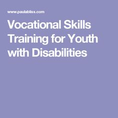 Vocational Skills Training for Youth with Disabilities