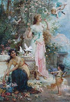 Paintings of Spring: Hans Zatzka - Spring Beauty