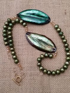 Green pearl, Copper enamel, Goldfield chain by Lindagezzini on Etsy