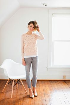 Blush sweater, gray denim and nude heels