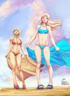 supergirl n powergirl by paulobarrios