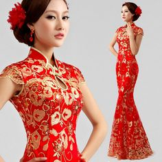 Chinese Cheongsam Evening Prom Party Wedding Mermaid Dress Ball Gown Embroidery #Handmade #BallGown #Formal