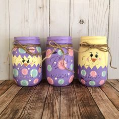 Easter mason jars   yellow chicks hatching   easter centerpiece   rustic home decor   purple and yellow